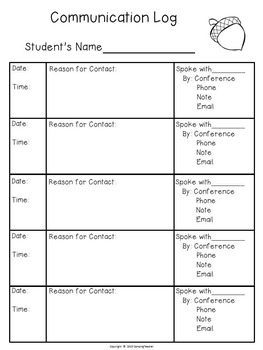 Classroom Forms and Documents Fall Theme