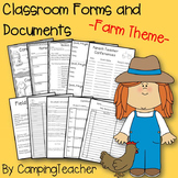 Classroom Forms and Documents Farm Theme