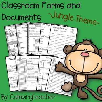 Classroom Forms and Documents Jungle Theme