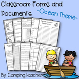 Classroom Forms and Documents Ocean Theme