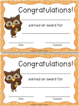 Classroom Forms and Documents Owl Theme