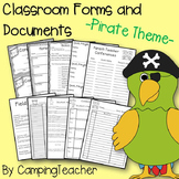 Classroom Forms and Documents Pirate Theme