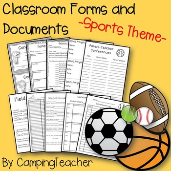 Classroom Forms and Documents Sports Theme
