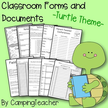 Classroom Forms and Documents Turtle Theme