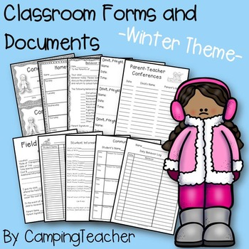 Classroom Forms and Documents Winter Theme