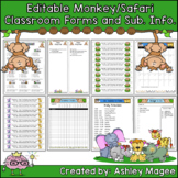 Editable Classroom Forms and Substitute Info. - Jungle/Saf