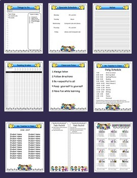Editable Classroom Forms and Substitute Info. Rock and Roll Kids Theme (Sub Tub)