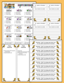 Editable Classroom Forms and Substitute Information - Bumble Bee themed