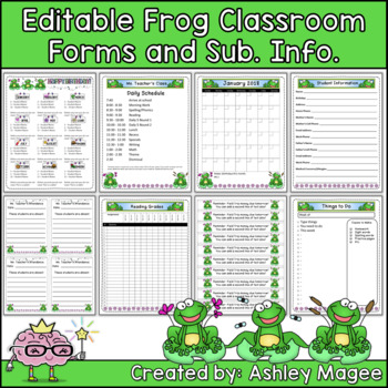 Editable Classroom Forms and Substitute Information - Frog Theme