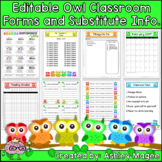 Editable Classroom Forms and Substitute Information Pages - Owl Themed (Sub Tub)