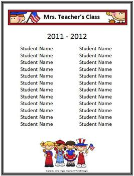 Classroom Forms and Substitute Information - Patriotic/USA Theme