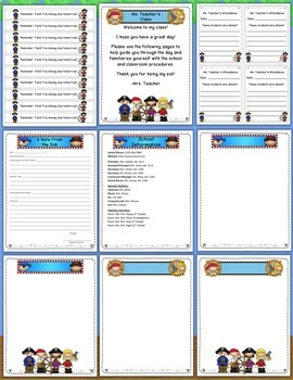 Editable Classroom Forms & Substitute Information - Pirate Theme (Sub Tub)