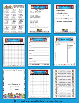Editable Classroom Forms and Substitute Information - Reading Kids themed