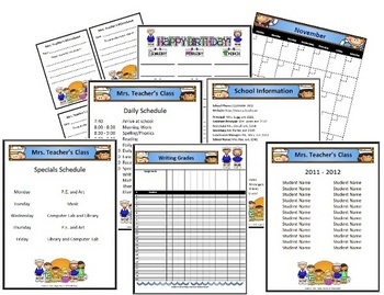 Classroom Forms and Substitute Information - Seaside/Beach Theme