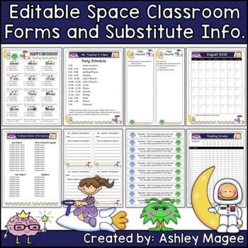 Editable Classroom Forms and Substitute Information Space Theme (Sub Tub)