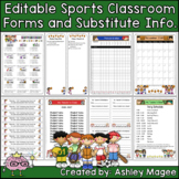 Editable Classroom Forms & Substitute Information Sports Theme (Class Handbook)