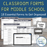 Classroom Forms for Middle School Teachers