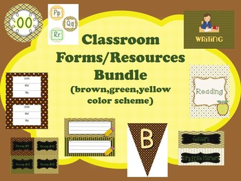 Classroom Forms/Resources BUNDLE (green,brown,yellow theme)  Back To School