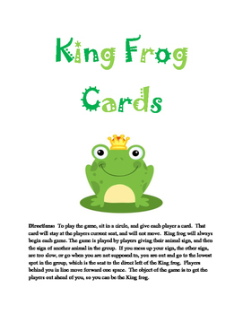 Classroom Game: King Frog Cards