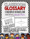Classroom Glossary - Back-to-School Class Book