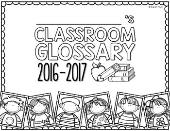 Classroom Glossary - Back-to-School Class Book