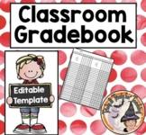 Gradebook Editable Template Printable (Blank) Grades Record Book Teacher Tool