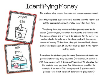 Grocery Store: Identifying Money, Making Change, Rounding, Addition, Subtraction