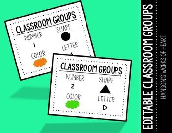 Classroom Group Desk Plates (Editable)