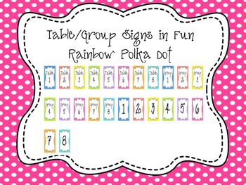 Classroom Group Signs Polka Dot