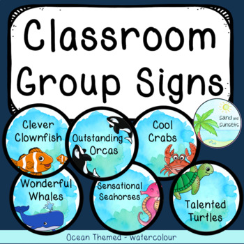 Classroom Group Signs | Table Signs | Ocean Theme