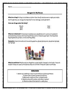 Classroom Guidance: Dangers In My House: Drugs, Inhalants, Medicine handout