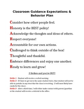 Classroom Guidance Expectations and Behavior Plan