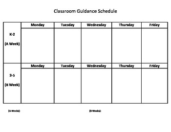 Classroom Guidance School Counselor Schedule Example