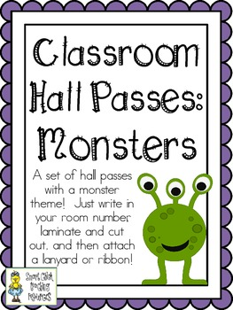 Classroom Hall Passes ~ Monster Theme ~ Set of 7 Passes