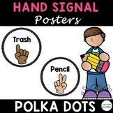 Classroom Hand Signal Posters Editable, Black and White Dots