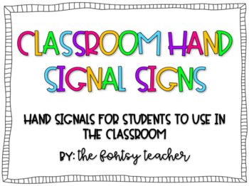 Classroom Hand Signal Signs