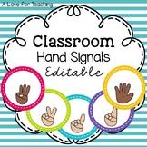 Classroom Hand Signals {Editable}