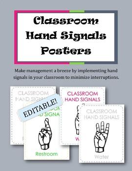 Classroom Hand Signals Posters {EDITABLE!}