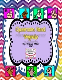 Classroom Hand Signals--Rainbow Chevron