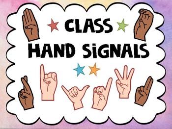 Classroom Hand Signals (Watercolor)