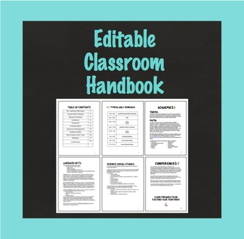 Editable Classroom Handbook for Parents, Back to School an