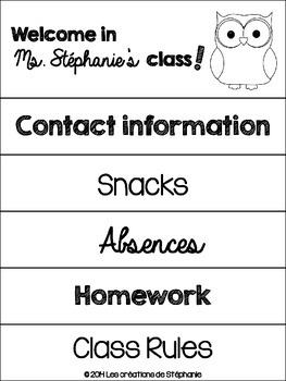 Classroom Handbook for Parent's Night