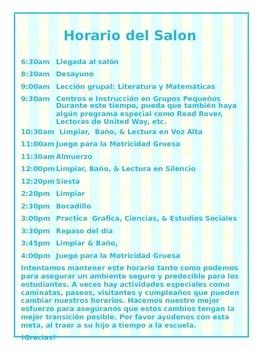 Classroom Handbook in English and Spanish