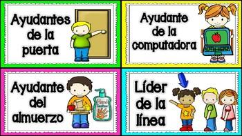 Classroom Helper Cards in Spanish