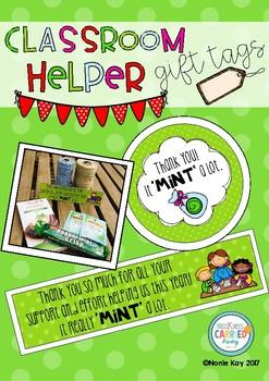 Classroom Helper Gift Tags! 'It MINT a lot' Theme