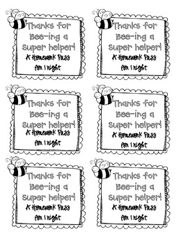Classroom Helper Homework Pass Coupon