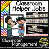 Classroom Helper Jobs (EDITABLE) ~ Chevron Rainbow Print with white background