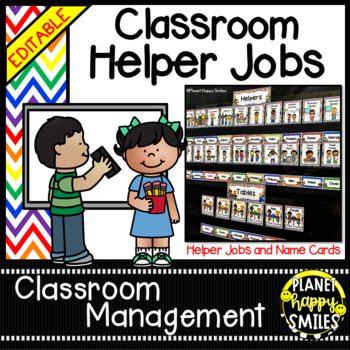 Classroom Helper Jobs (EDITABLE) ~ Chevron Rainbow Print with white background