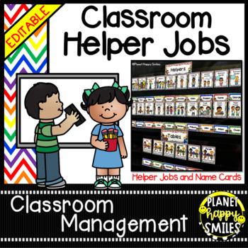 Classroom Helper Jobs (EDITABLE) ~ Chevron Rainbow Print w