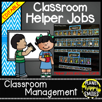 Classroom Helper Jobs (EDITABLE) Aqua and Chalkboard theme